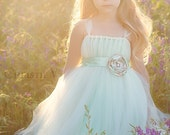 READY to SHIP - 2T Full Length - Ivory and Mint Double Layered Flower Girl Tutu Dress with Flower Sash - REVERSIBLE