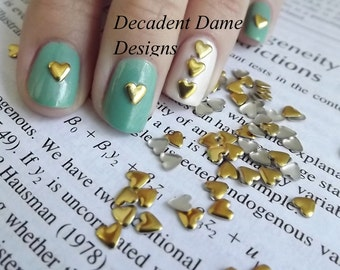 GOLD 4mm HEARTS Metal Studs 100 Pieces Nail Rhinestuds Hotfix