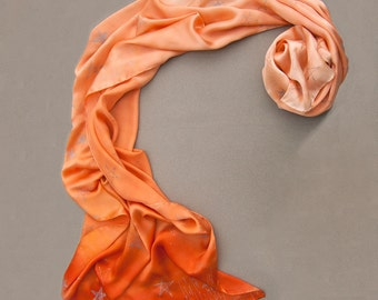 Satin silk shawl- Coral Ombre. Bridal shawl/ Wedding accessory/ Hand painted scarf. Stars satin shawl. Luxurious scarves. Mother's Day gift