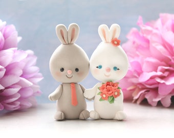 Unique wedding cake toppers interracial Bunny holding hands - bride groom rabbit rustic country elegant funny wedding brown barn farm cute