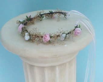 Bubble gum Pink Flower girl halo Bridal dried floral crown baby photo prop headband wedding accessories bridal shower babys breath rustic