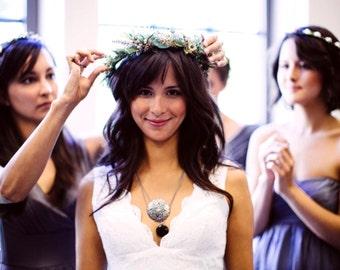 Greek Stefana Flower crown leafy Greenery Headdress Forest Fairy set of 2 ribbon joined wedding accessories bridal halo vine hair wreath