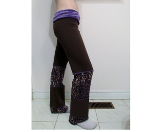 SALE Jungle Leopard Purple and Brown Pants DIY Hippie Pixie Festival