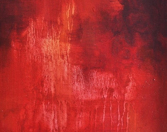 Original Abstract Painting Bright Red Modern Art 9x10""