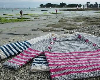 Langoz baby sweater - pdf knitting pattern - French