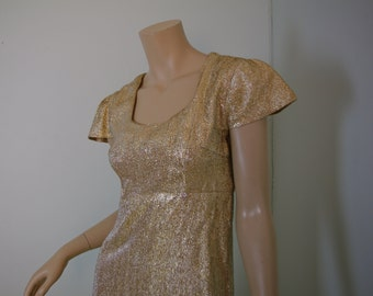 Gold Sparkle Mini Dress- 1960's Mod Shift- Cap Sleeves- Metallic Lamé- Empire Waist- Small- 60's