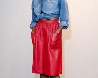 Vintage 70's Red Leather Halston Front Pocket Skirt
