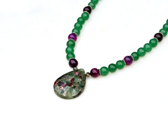 Jade Necklace Green Necklace Teardrop Pendant Necklace Purple Gemstone Necklace Asian Zen Flare High Fashion Haute Couture by Mei Faith