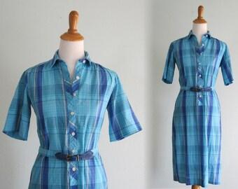 CLEARANCE Vintage 1960s Dress - Aqua Blue Plaid Day Dress with Matching Belt - 60s Plaid Day Dress S M
