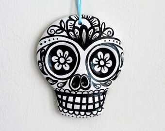 Ornament Sugar Skull Painted Ceramic Day of the Dead Decor White and Black Ceramic Dia de los muertos - large - READY TO SHIP