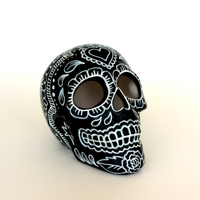 Day Of The Dead Hand Tattoo: Ceramic Sugar Skull Painted Day Of The Dead Halloween By
