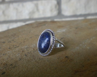 Lapis Sterling Silver Ring Oval Setting