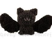Silver Haired Bat Large Amigurumi Crocheted Plush Toy Black Batty