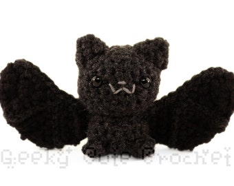 Silver Haired Bat Large Amigurumi Crocheted Plush Toy Black Batty