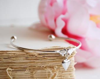 Love BIRD Bracelet Lovebirds Kissing Birds SILVER Bangel Heart Bridesmaid Jewelry Teen
