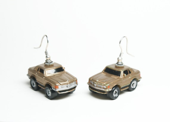 Gold mercedes benz sl 1980s micro machines toy car earrings for Mercedes benz earrings