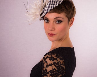 White and navy pillbox hat CLEARANCE REDUCED 40%
