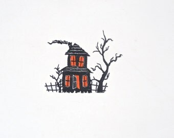 Embroidered Iron On Applique-Haunted House