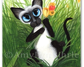 Siamese Cat Tulips for you Art - Original Painting by AmyLyn Bihrle ck433