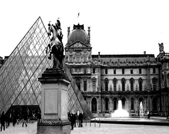 Paris Photography, Louvre Museum, Paris Black and White Photography, Paris Louvre Museum Pyramid Architecture, Paris Black and White Prints