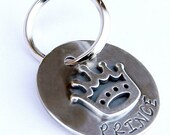 Sterling Silver Crown Pet ID Tag in Three Sizes - Prince or Princess  - Dog Tags - Pet Tags