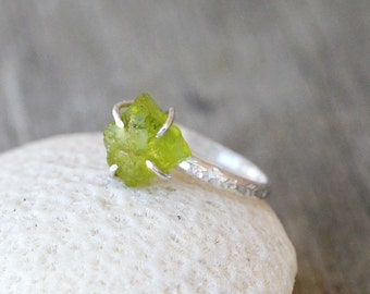 Rough Peridot Sterling Silver Ring - Uncut Raw Gemstone, Green, August Birthstone, Stackable, Rustic, Hammered, Prong set, nature inspired
