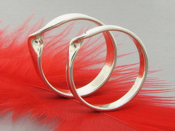 Couple rings, Mobius rings, infinity rings, sterling silver rings, unity and oneness - set of 2 with different widths