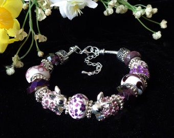 Easter Bunnies - European Style Bracelet with Chunky Beads in Lavenders and Silver