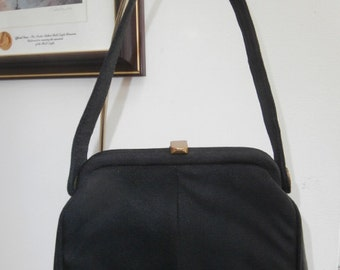 Womens Purse~ 1940's  Black Cloth Purse with Attached Coin Purse With Metal Frame Antique Purse