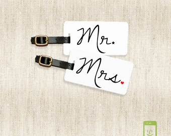 Luggage Tags Mr and Mrs Metal Luggage Tag Set Personalized with Address Message or Quote Metal Tags Mr Mrs