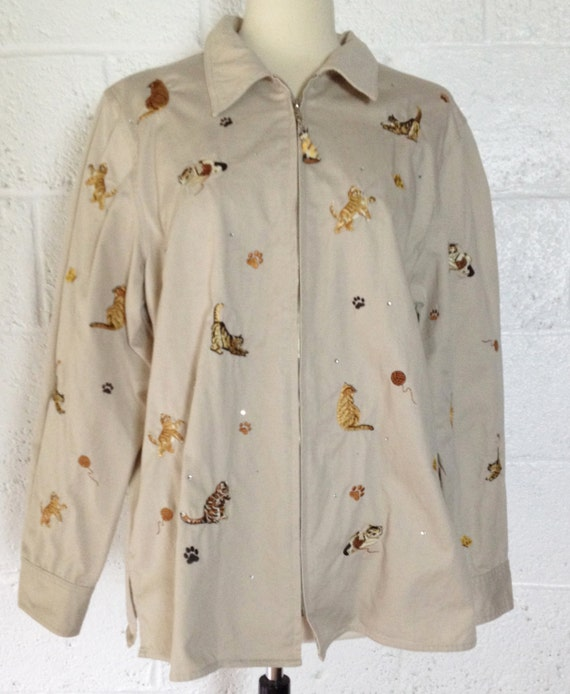 S embroidered cotton khaki shirt jacket for cat lovers