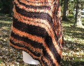 Orange and Black Side Poncho, Orange & Black, Autumn Poncho, Ladies Poncho, Ladies Orange and Black Poncho, Side Poncho