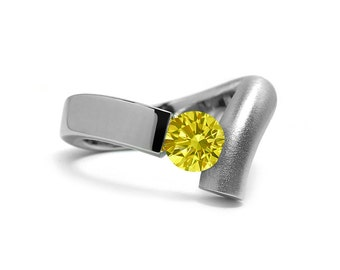 Unique Yellow Sapphire Topaz Tension Set Ring in Two Tone Stainless Steel