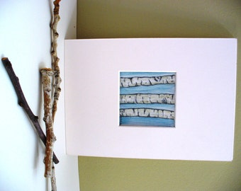 Aspen Drawing Mini Art White Birch Bark Twigs