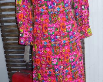 Neon Floral TROPICAL Dress - Medium