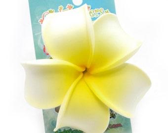 Plumeria Hair Clip, 3 inch, White and Yellow,  Hawaiian Flower Clip, Foam Flowers, Beach Wedding