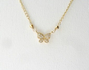 Simple Gold Necklace / Layering  Butterfly / Cubic Zirconia Necklace / 14K gold chain /  everyday simple jewelry /  minimal necklace for Her