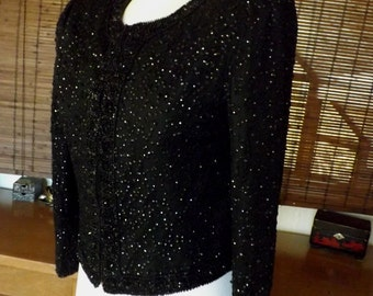 Vintage Late 50s to Early 60s Beaded and Sequin Jacket  M Free US Shipping