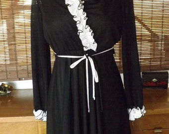 Vintage 70s Black and White Tuxedo Ruffle Near Sheer Disco Midi Dress M Free Shipping