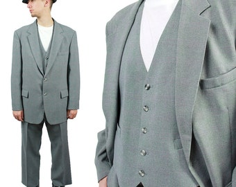 Vintage 3 Piece Suit Blazer Vest Pants 44R 39x29 Gray Red Glen Check Checked Free US Shipping