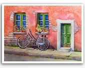 Watercolor PRINT / Bicycle landscape art Window garden Bike art Italian bike Salmon colored painting 11 x14 in