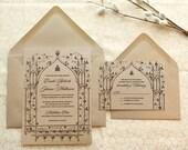 Once Upon a Time Kraft Garden Wedding Invitations - Fantasy Wedding - Castle Wedding - Fairy tale Wedding - Nature Wedding