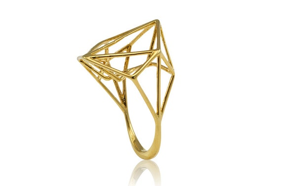 Geometric Gold Ring, Architecture Brass Ring, Bridal Jewelry, Bridale Ring, Brass Jewelry, Minimal Ring Design