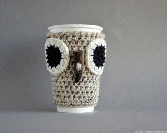 Crochet Coffee Cozy Pattern, Crochet Pattern, Crochet Coffee Sleeve Pattern, Crochet Owl Coffee Sleeve Pattern, Crochet Owl Pattern