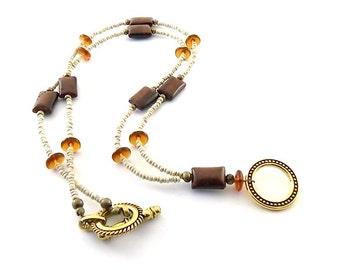 Red Tiger Eye Lanyard - Antique Gold Lanyard - Topaz and Cream Lanyard - Topaz Lanyard - Gold -Beaded Lanyard -Gold Badge Holder