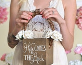 Here Comes The Bride Rustic Flower Girl Basket (Item Number MMHDSR10029)