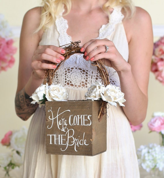Flower Girl Basket Montreal : Items similar to here comes the bride rustic flower girl