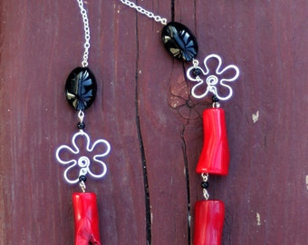 Sterling Silver Flower Necklace with Coral and Onyx Beads