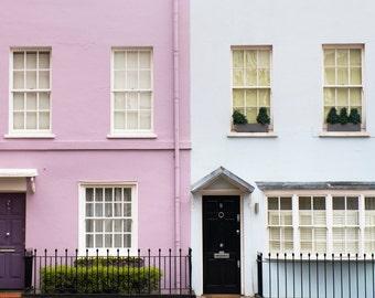 London Photography - Pastel Houses, England Travel Photo, Home Decor, Large Wall Art