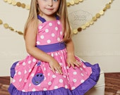 Birthday Girl Barney Personalized Dinosaur Applique Ruffle Dress
